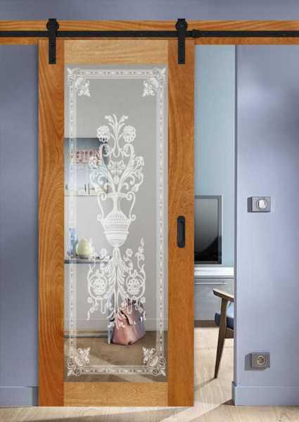 Real Solid Hardwood Sliding Door with Mirror Insert WMD-0102