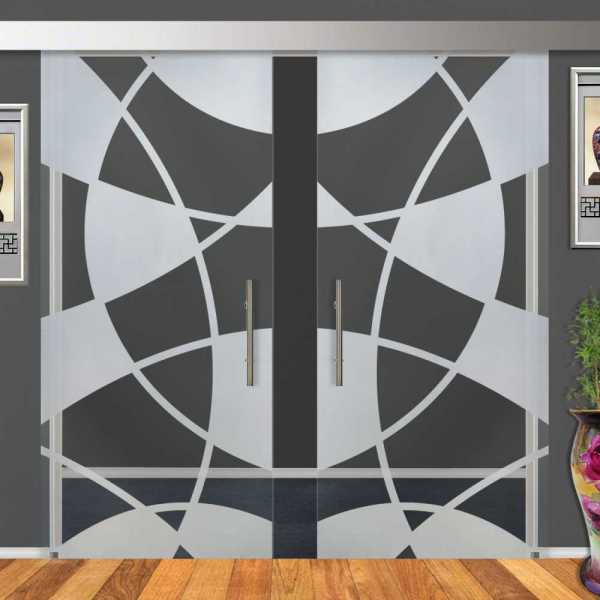 2-Leaf Glass Barn Door (Model DSGD-ALU100-0009 Semi-Private)