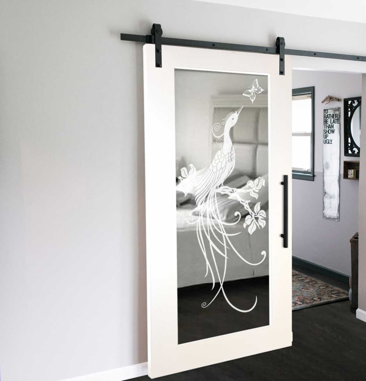 Mirror Sliding Barn Door With Various Frosted Desings Glass Door Us Innovation Perfection Made Of Glass