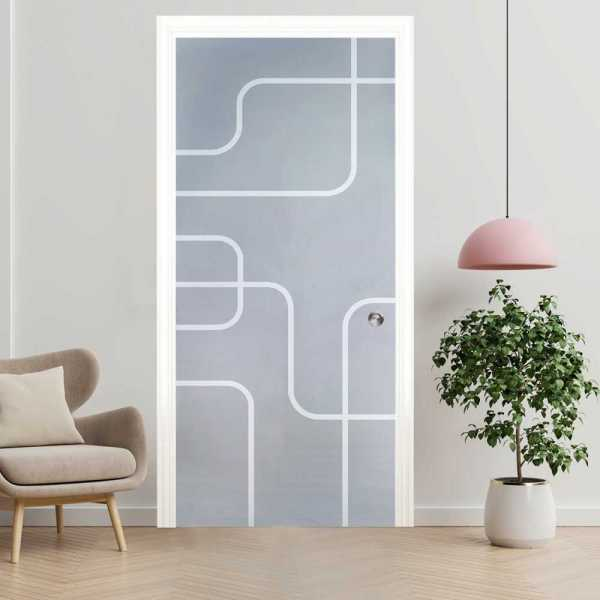 """Sliding Pocket Glass Door, 28""""x80"""", Thickness:8mm and Hardware Kit"""