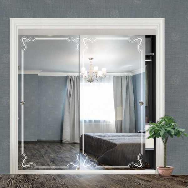 """Frameless 2 Leaf Sliding Closet Bypass Mirror Door 48"""" CMD-0019"""