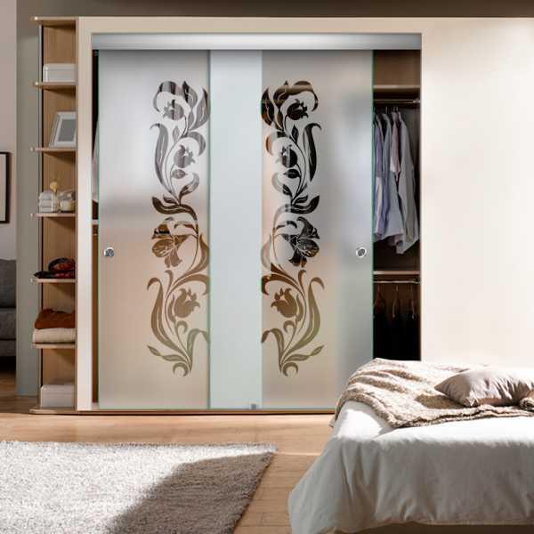 Frameless 2 Leaf Sliding Closet Bypass Glass Door with Hardware CGD-0016