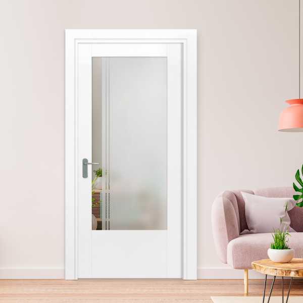 3/4 Lite Interior Door with Glass Insert (Model HMDI-0013 Semi-Private)