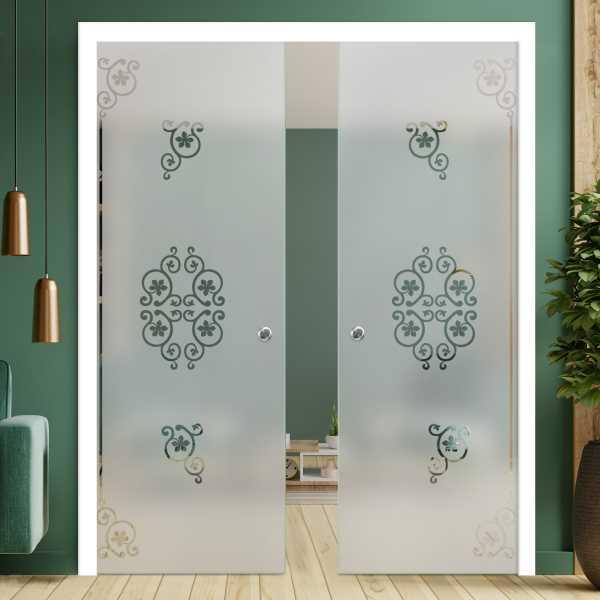 Double Pocket Glass Barn Door (Model DPSGD-0020 Semi-Private)_Recessed Grip Handle