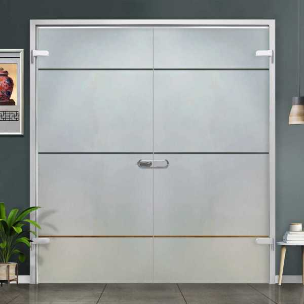 Double Hinged Glass Door (Model H-H+DHGD-0015 Semi-Private)