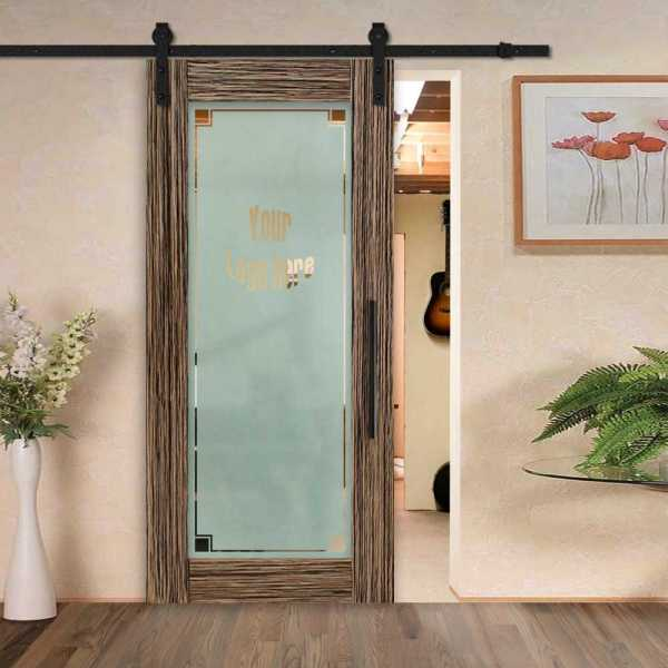 Sliding MR MDF veneered barn door with glass insert (semi-private frosted design) and carbon steel sliding system