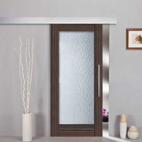 Sliding Barn Door Ebony-Wood Veneered, Aquatex Glass