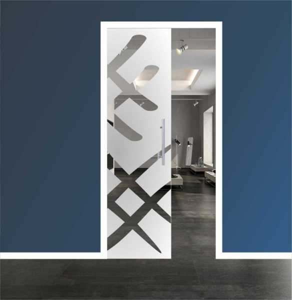 Sliding Pocket Glass Door with Frosted Design and Hardware PSGD-0060