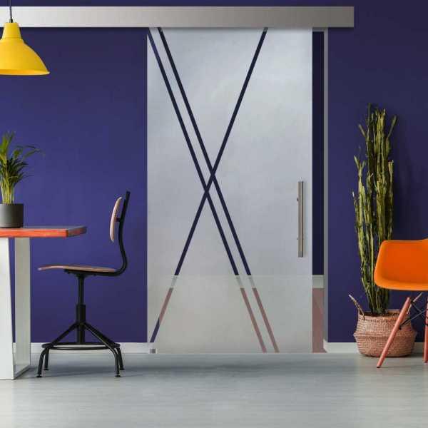Glass Barn Door (Model SGD-ALU100-0303 Semi-Private)