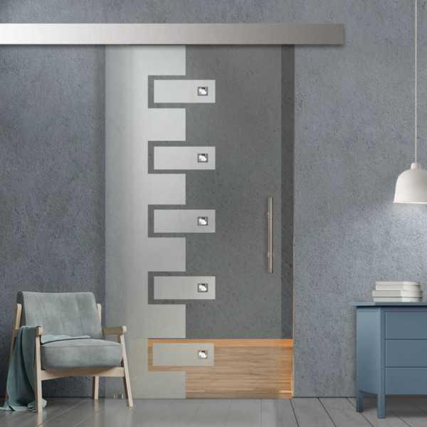 Glass Barn Door (Model SGD-ALU100-0087 Semi-Private)