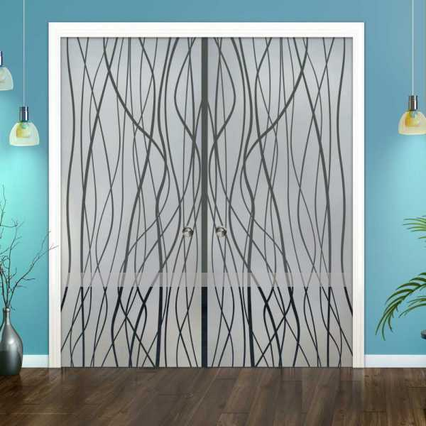 Double Pocket Sliding Glass Door with Frosted Design DPSGD-0050