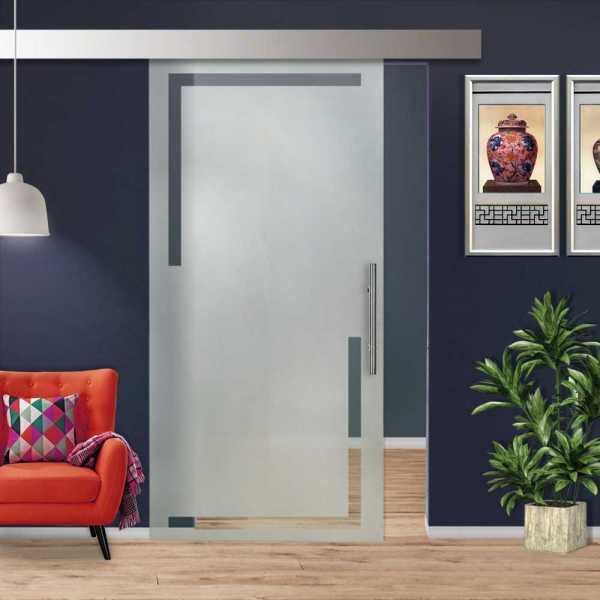 Glass Barn Door (Model SGD-ALU100-0009 Semi-Private)