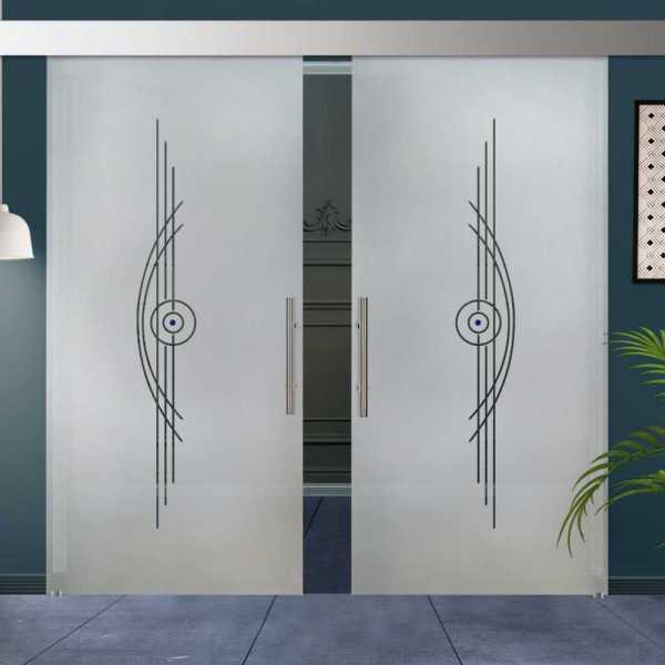 Double Sliding Barn Glass Door DSGD-ALU100-0066