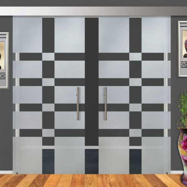 2-Leaf Glass Barn Door (Model DSGD-ALU100-0018 Semi-Private)