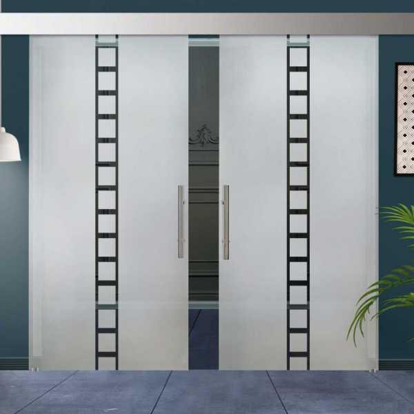 ++Sales Offers++ Double Sliding Barn Glass Door DSGD-ALU100-0023