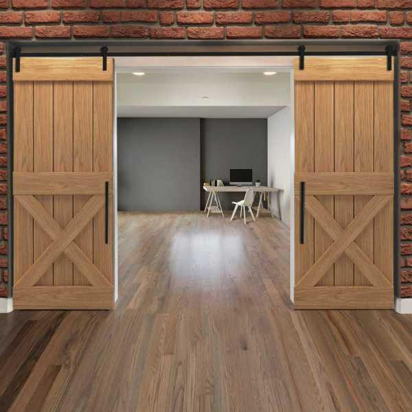 Real Solid Hardwood Half X Double Sliding Barn Door WD-0019