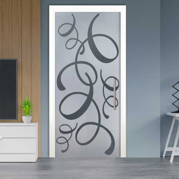 Sliding Pocket Glass Door with Frosted Design and Hardware PSGD-0065