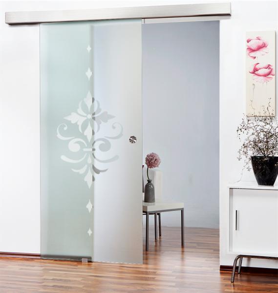 Glass Barn Door (Model SGD-ALU100-0148 Semi-Private)