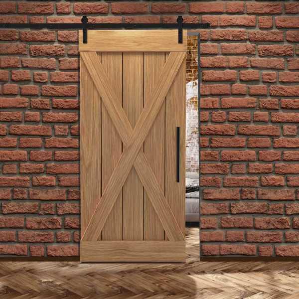 Real Solid Hardwood X Sliding Barn Door WD-0014