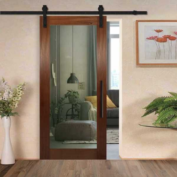 Real Solid Hardwood Sliding with Glass Insert WGD-0190