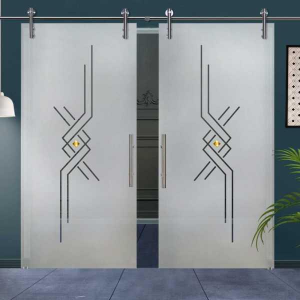 Double Glass Barn Door (Model DSGD-V1000-0035 Semi-Private)