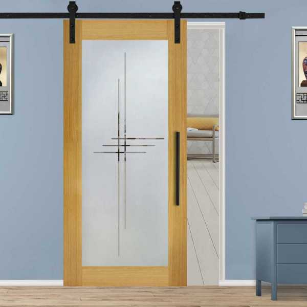 Hardwood Mahagony Sliding Barn Door with Glass Insert Included Hardware WGD-0044