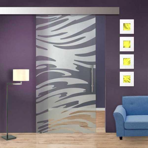 Glass Barn Door (Model SGD-ALU100-0245 Semi-Private)