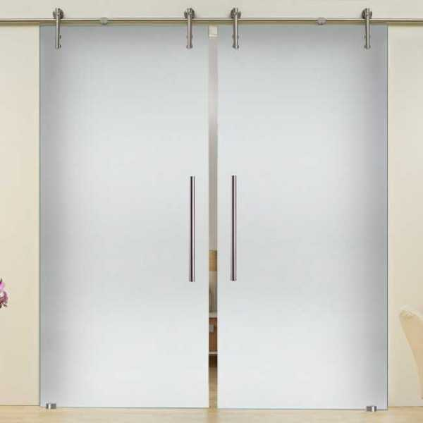 2 Leaf Sliding Glass Barn Door + Partially Privacy Opaque with Frosted Design