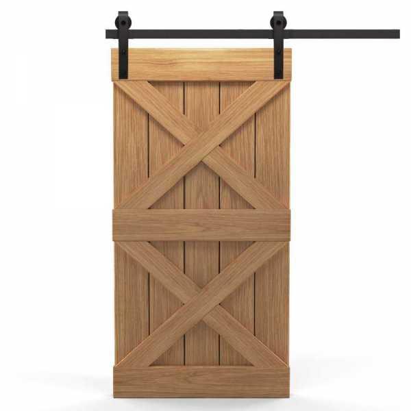 Real Solid Hardwood X Sliding Barn Door WD-0015