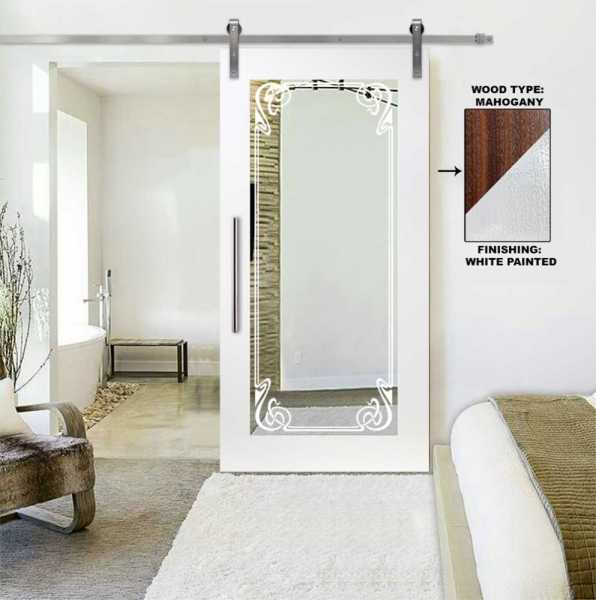 Mirror Sliding Barn Door with Victorian Border Frosted Designs WMD-0101