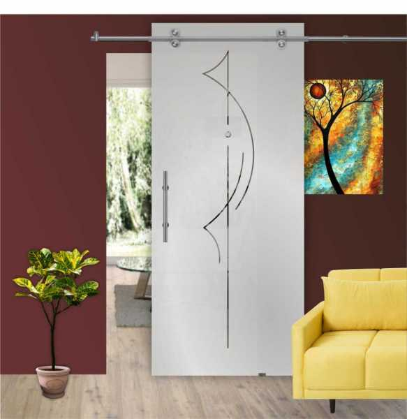 """Single Sliding Barn Glass Door 55.5"""" x 101 1/4"""" Inches / Glass Thickness 10 mm / 3/8"""""""