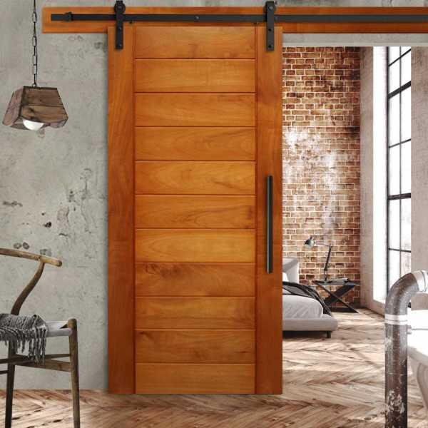 Real Solid Hardwood Sliding Barn Door WD-0050