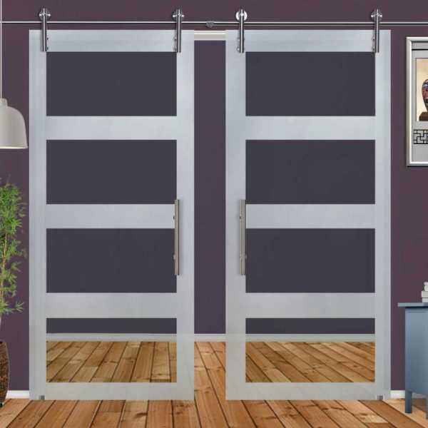 ++Sales Offers++ Double Sliding Glass Barn Door DSGD-V1000-0022
