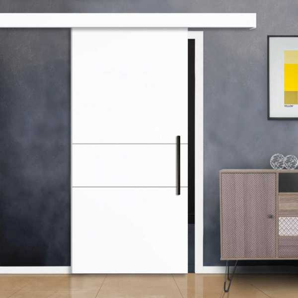 White Sliding Wood Door With Stainless Steel stripes and Hardware Fascia / Cover