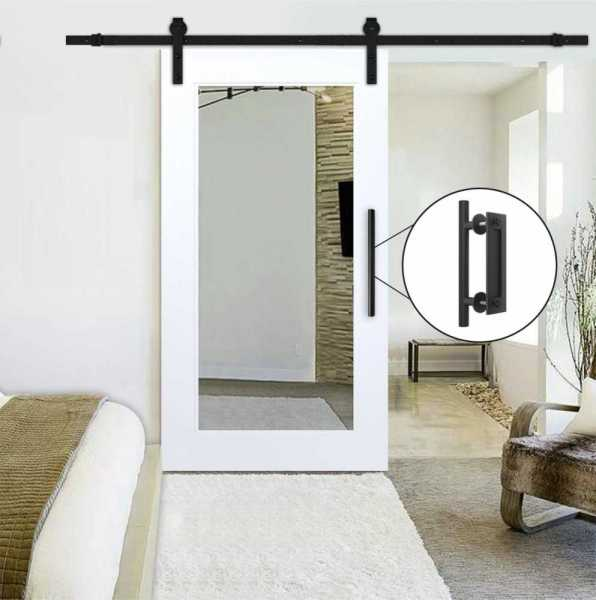 "28"" x 81"" Mirrored Sliding Barn Door with Mirror Insert, ""Open Box"""