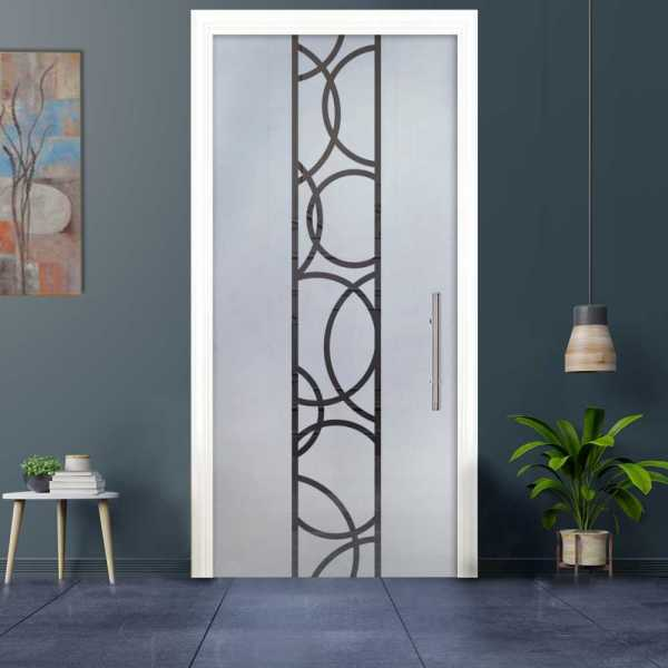 Sliding Pocket Glass Door with Frosted Design and Hardware PSGD-0045