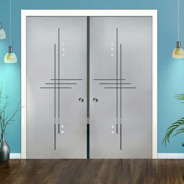Double Pocket Glass Barn Door (Model DPSGD-0075 Semi-Private)_Recessed Grip Handle