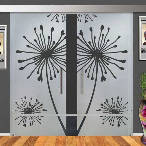 2-Leaf Glass Barn Door (Model DSGD-ALU100-0019 Semi-Private)