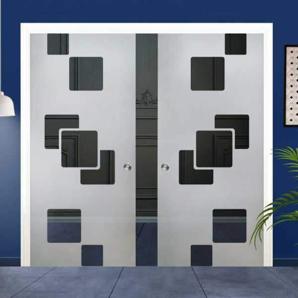 Double Pocket Glass Barn Door (Model DPSGD-0023 Semi-Private)_Recessed Grip Handle