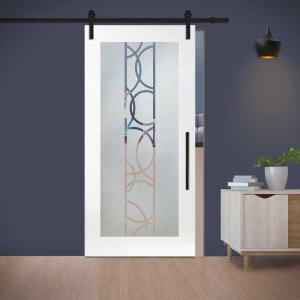 1 Lite MDF Sliding Barn Door with Glass Insert WGD-0010