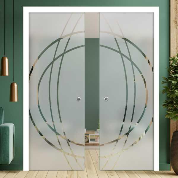 Double Pocket Glass Barn Door (Model DPSGD-0166 Full-Private)_Handle Bar