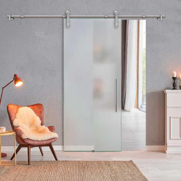 """++Sales Offers++ 36"""" x 84"""" Full Frosted Sliding Glass Barn Door SGD-V1000-0055"""