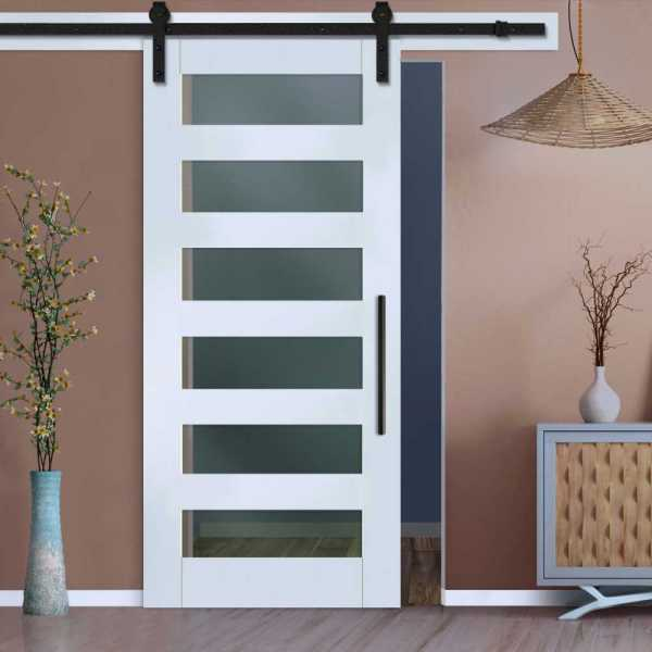 6 Lite Sliding Barn Door with Frosted, Clear or Textured Glass Inserts WGD-0022