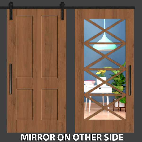 Hybrid with Four Long Panel Mirrored Barn Door and Vertical Zigzag Frame
