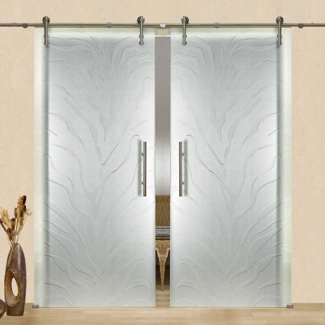 Frameless Sliding Glass Barn Door Frosted In Both Side