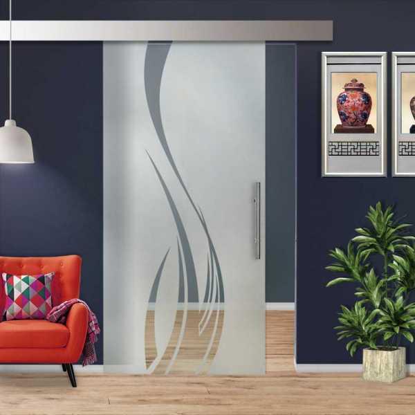 Glass Barn Door (Model SGD-ALU100-0021 Semi-Private)