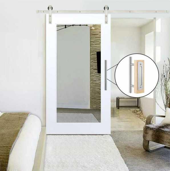 Mirror Sliding Barn Door with Stainless Steel Hardware Kit WMD-0150