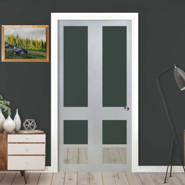 ++Sales Offers++ Pocket Sliding Glass Door with Frosted Design PSGD-0040