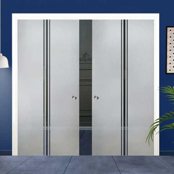 Double Pocket Glass Barn Door (Model DPSGD-0015 Semi-Private)_Recessed Grip Handle