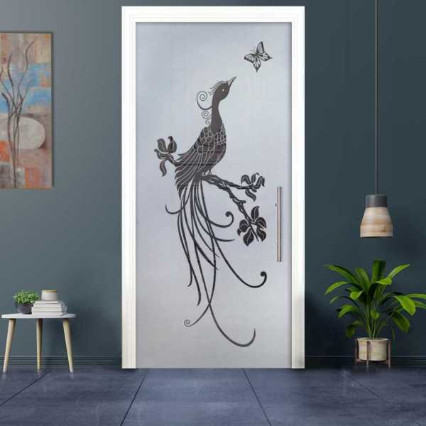 Sliding Pocket Glass Door with Frosted Design and Hardware PSGD-0020